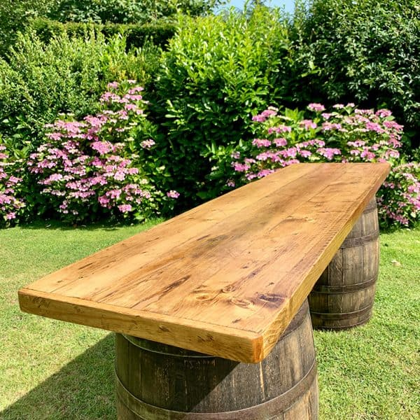 Handmade chunky wooden barrel bar top