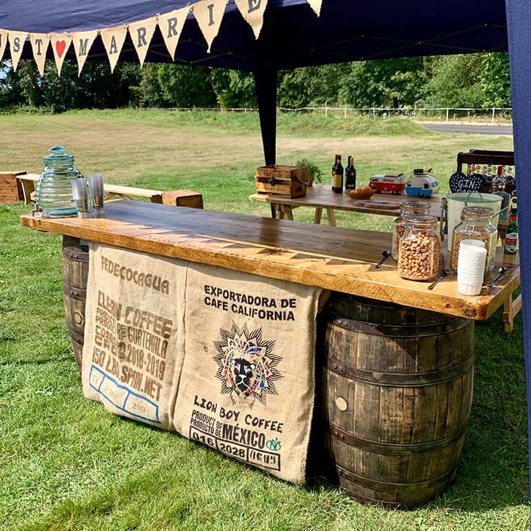 Jaques & Co Whiskey Barrel bar for hire