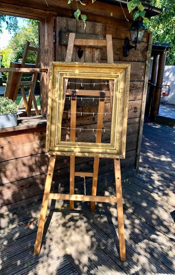 Wooden easel for hire from Jaques & Co