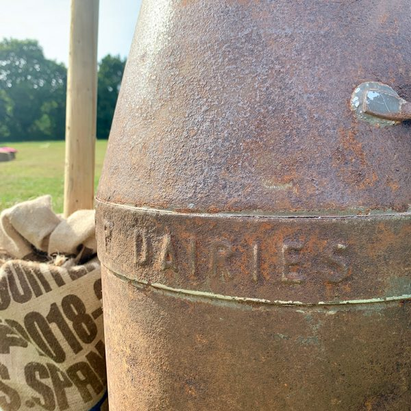 Vintage milk churn for hire from Jaques & Co