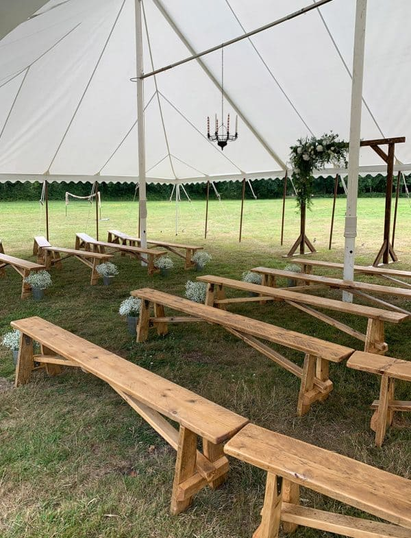Wooden benches wedding ceremony seating to hire