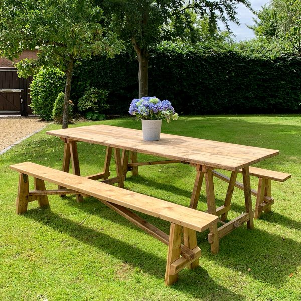 Rustic trestle tables and benches for hire