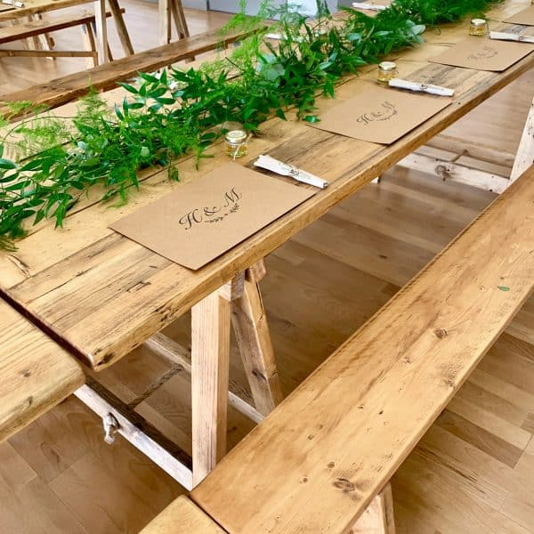 Rustic wedding furniture for hire
