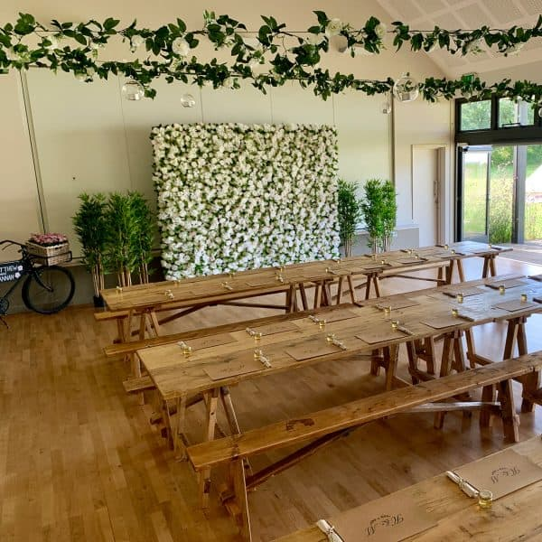 Wooden tables and benches to hire in Dorset