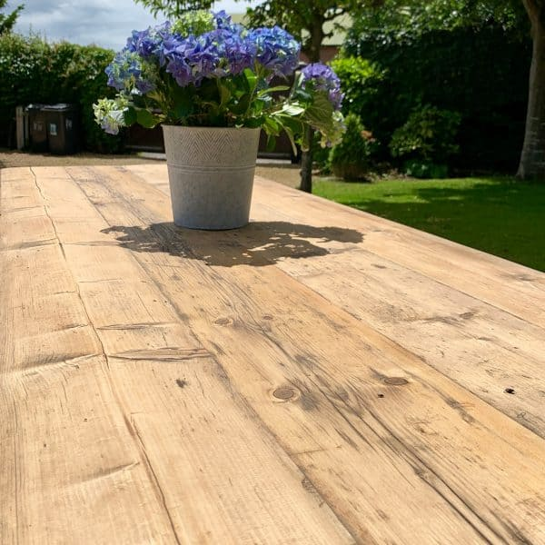 Reclaimed wood trestle tables for wedding and event hire