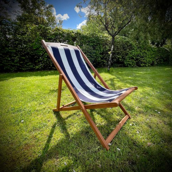 Deck Chairs for Hire - Navy striped deck chairs for hire.
