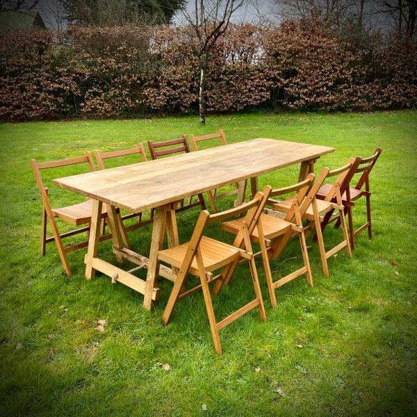 Vintage Folding Chairs and Trestle Tables for event hire